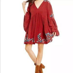 Free people te amo red embroidered boho dress sz s